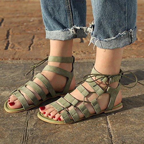 Gladiateur Bout Talon Croix Femmes Cru Décontracté Romain Sandales Dame Sangle Chaussures Hlhn Plat Cheville Ouvert Plage Vert Bohême vdWBqC