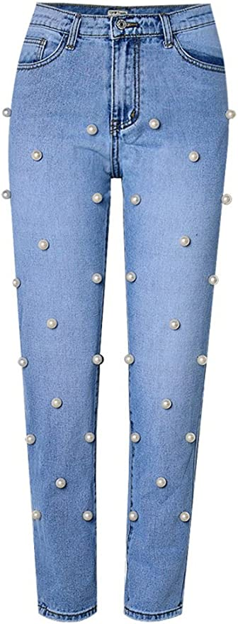 Who What Wear Women/'s Pearl Embellished Straight Leg Crop Denim Jeans Capris