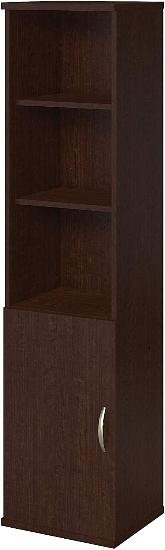 Bush Business Furniture 18W 5 Shelf Bookcase with Doors in Mocha Cherry