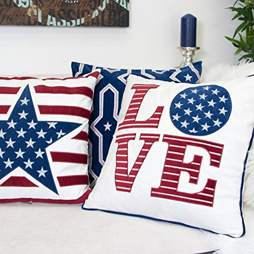 Homey Cozy American Flag Velvet Throw Pillow Cover,Patriotic Series Country Love Large Sofa Couch Decorative Pillow Case for Independence Day 4th July Home Decor 20x20, Cover Only