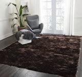 LA Rug Linens Shag Shaggy Furry Fluffy Fuzzy Soft Modern Contemporary Thick Plush Soft Pile Dark Brown Two Tone Area Rug Carpet Bedroom Living Room 5×7 Sale Discount (Aroma Dark Brown)