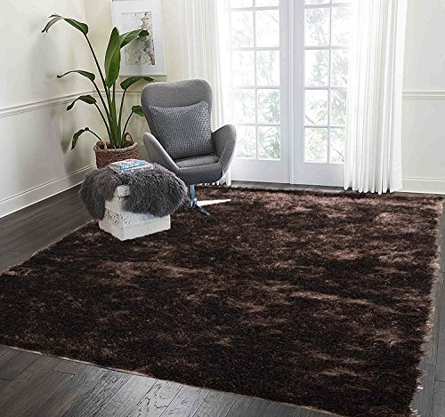 LA Rug Linens Shag Shaggy Furry Fluffy Fuzzy Soft Modern Contemporary Thick Plush Soft Pile Dark Brown Two Tone Area Rug Carpet Bedroom Living Room 5x7 Sale Discount (Aroma Dark Brown)