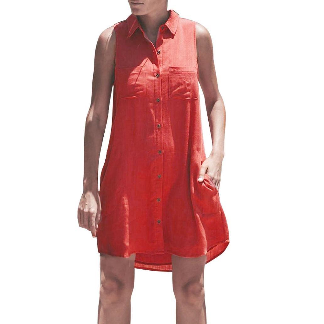Spbamboo Women Ladies Plain Button Pocket Dress Sleeveless Party Clubwear Dress