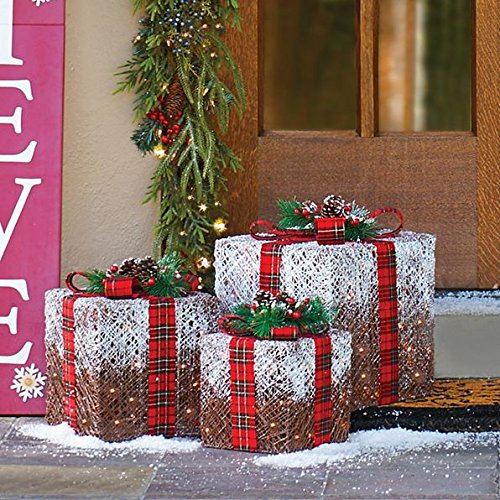 Set of 3 Frosted Lighted Presents Outdoor Christmas Decorations with Plaid Bow by Improvements (Image #1)