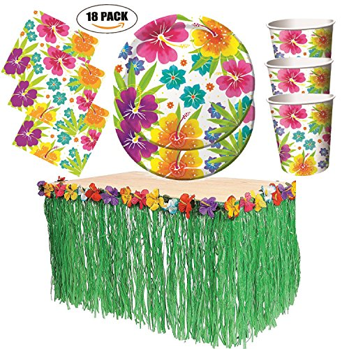 Free Shipping Free Shipping  sc 1 st  Beachfront Decor & Tropical Luau Hawaiian Party Pack - Tableware and Decoration for 18 ...