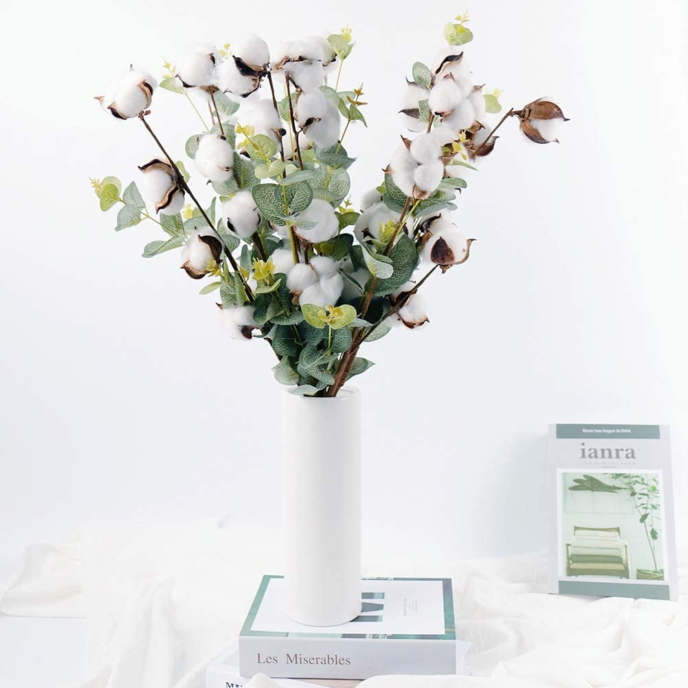 6pcs Cotton Stems with Eucalyptus Leaves Blooms Dried Flowers 4 Cotton Heads Per Stem Total 24 Balls for Home Farmhouse Style Floral Decoration