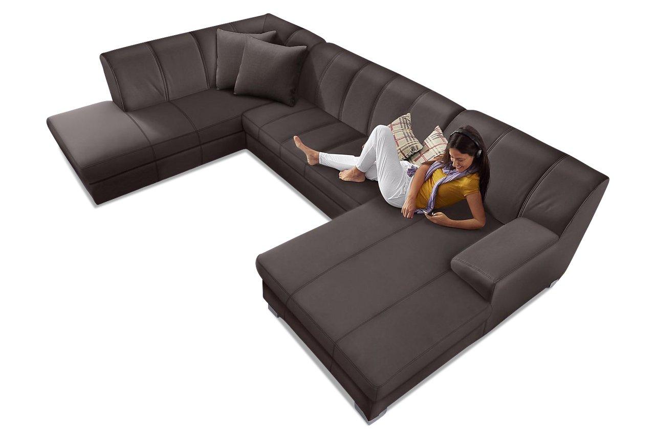 Sofa Wohnlandschaft Emily Mit Schlaffunktion Braun Luxus