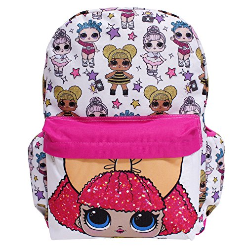 Lol Surprise  Large White All Over Print Girls School Backpack  Glitter Queen