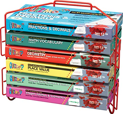 Learning Advantage QUIZMO Advanced Elementary Math Series - Set of 6 Bingo-Style Math Games for Kids - Teach Fractions, Decimals, Math Vocabulary, Geometry, Place Value and Integers ()