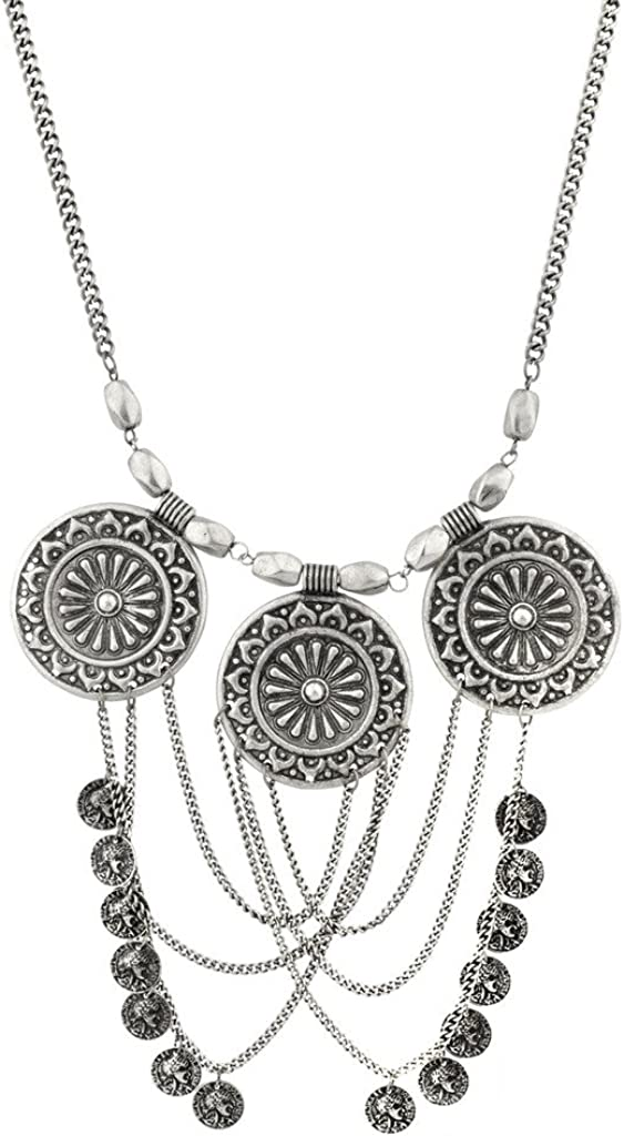 Lux Accessories Republique Francais French Republic Textured Disc Multi Chain Statement Necklace