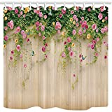easy garden ideas and designs Wallpaper Shower Curtains By JAWO Rosemary Flower Wall Wallpaper Photography Background Bath Curtains,69X70 Inches, Beige Pink Green