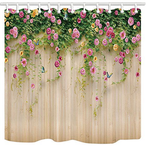 Wallpaper Shower Curtains By JAWO Rosemary Flower Wall Wallpaper Photography Background Bath Curtains,69X70 Inches, Beige Pink Green