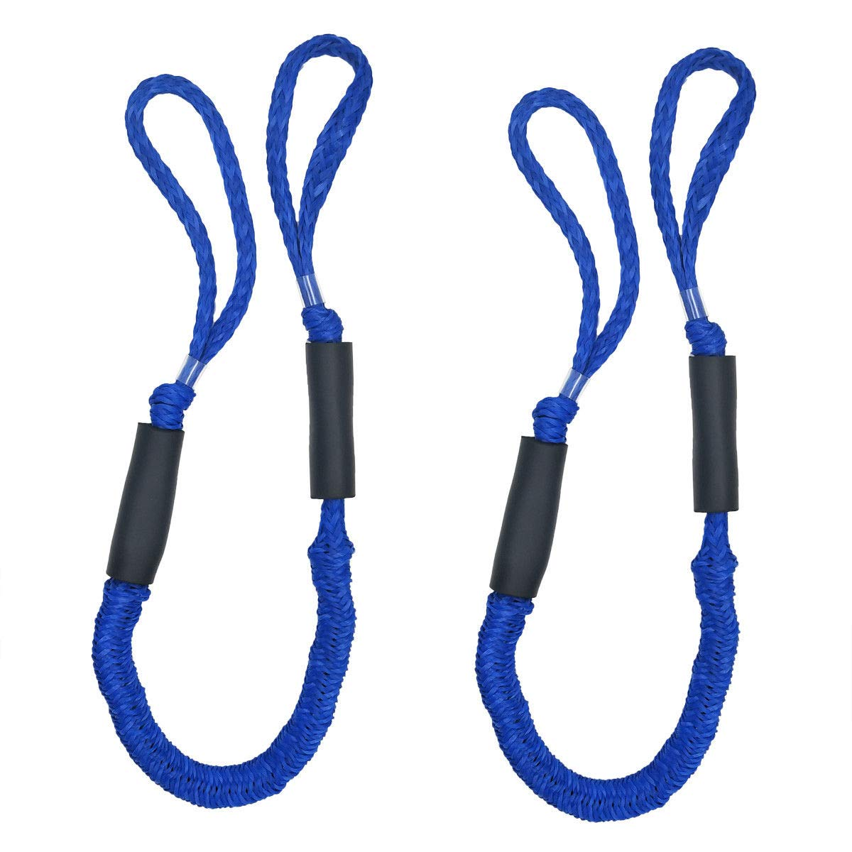 Wasyoh Bungee Dock Line, Mooring Ropes 2 Pack of 4-5.5 ft - Perfect for Boat, PWC, Jet ski, Pontoon, Kayak, Canoe, Power Boat (Black) (Blue) by Wasyoh