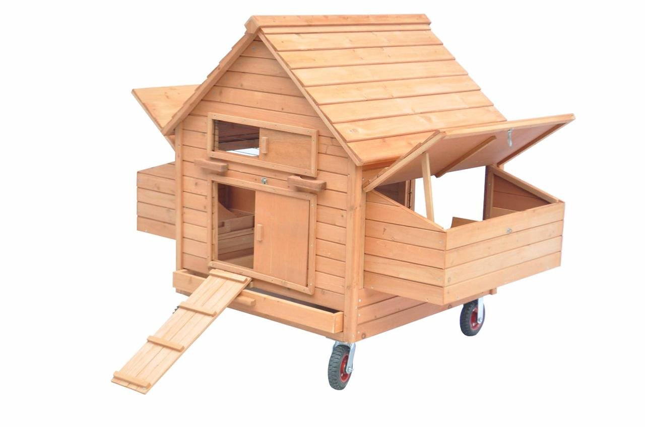 Ardinbir Portable 62'' Deluxe Huge Solid Wood Chichken Hen Coop Cage House with Wheels & 6 Nesting Boxes for 6-10 chickens
