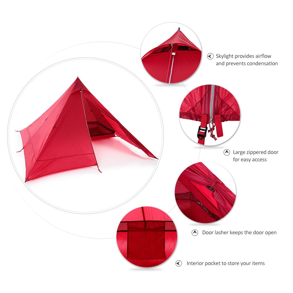 Lixada Ultralight 2 Person Tent Portable Backpacking Tent Double-Side Silicone Coating Water-resistant Outdoor Camping Tent Tarp Sun Shelter Awning 73 24 Camping Cot,Optional