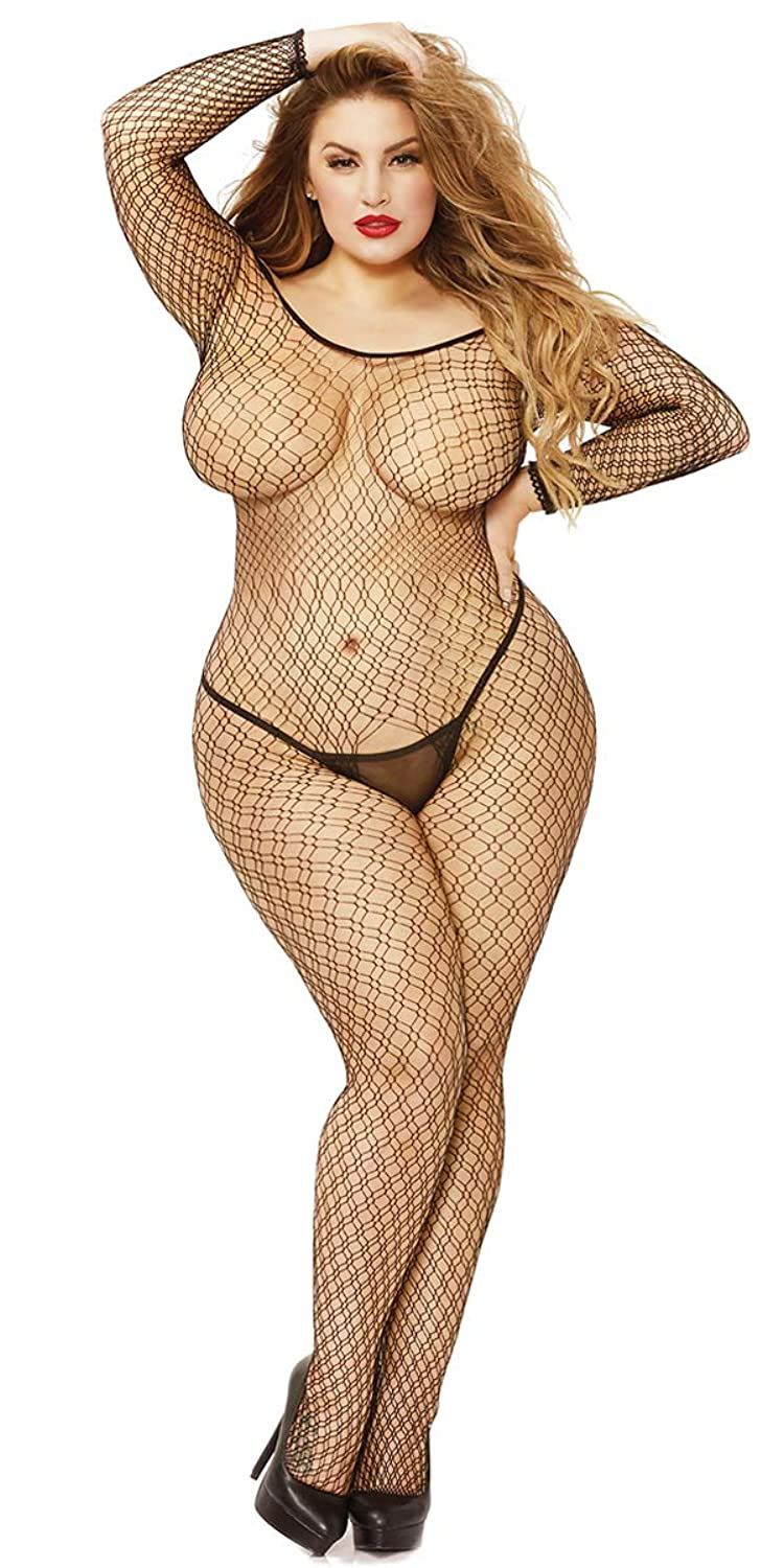 69cb1bf34 Top2  Sexy J-Law Plus Size Off-Shoulder Fishnet Long Sleeve Open  Bodystocking