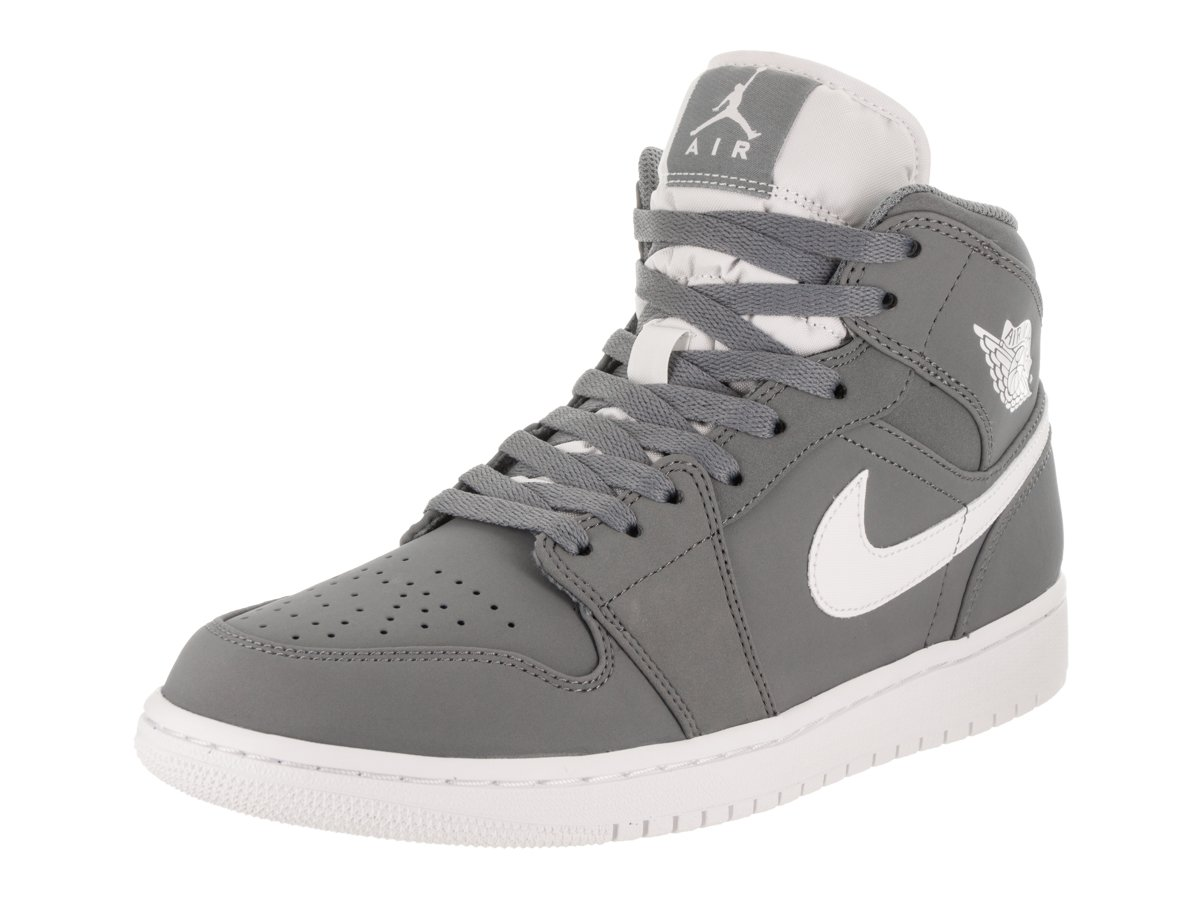 Nike Men's Air Jordan 1 Retro Mid Basketball Shoe Cool Grey/White-White 11.5 by Jordan