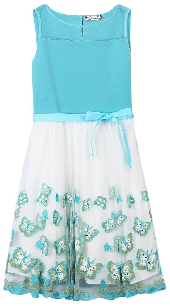 Speechless Big Girls' Butterfly Party Dress, Beach Glass, 7
