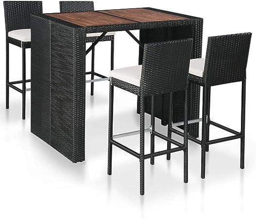 vidaXL Acacia Maciza Set Muebles Bar Jardín 9 Pzas Ratán Sintético Mesa Sillas: Amazon.es: Hogar