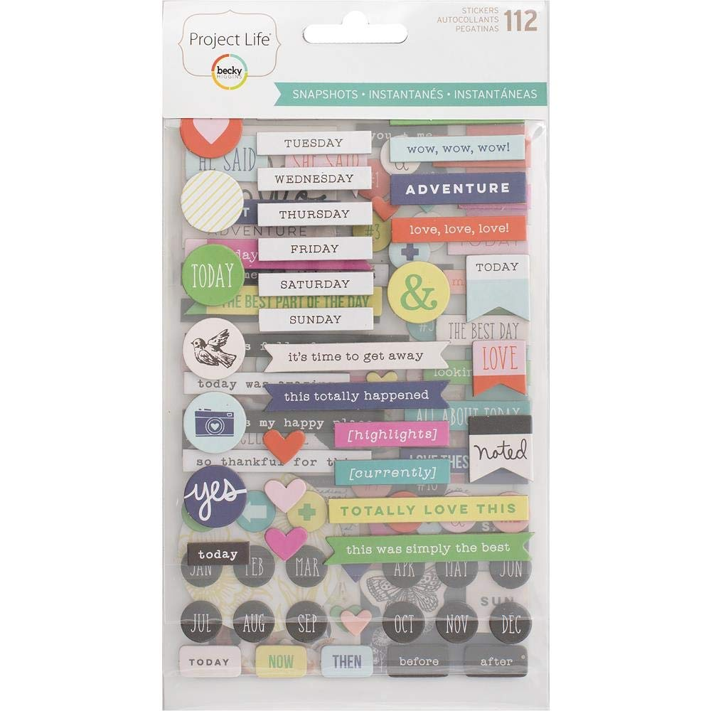 American Crafts 380862 Project Life Chipboard Stickers-Snapshots