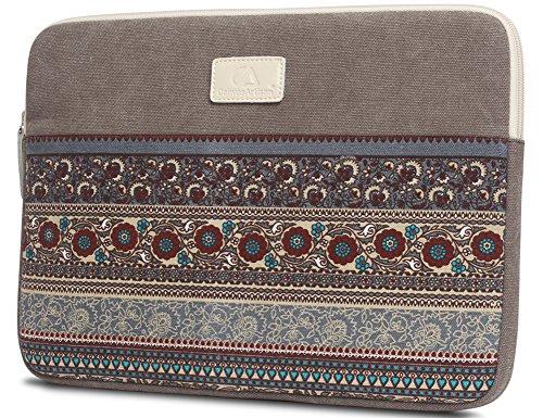 14 pulgadas de la manga del ordenador portátil, BLOOMSTAR bohemio lienzo protector del bolso del cuaderno de la computadora cubierta de la caja para MacBook Pro MacBook Air (horizontal, azul) Gris horizontal