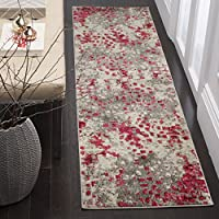Safavieh Monaco Collection MNC225R Modern Abstract Watercolor Grey and Fuchsia Pink Runner (22 x 8)
