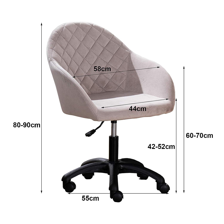360° svängbar datorstol med mellanrygg - ergonomisk kontorsstol justerbar sammet vadderad skrivbordsstol, ländrygg stöd Brun