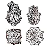 PARIJAT HANDICRAFT Mughal Design Wooden Printing Stamp Block Hand-Carved for Saree Border Making Pottery Crafts Textile Printing - Set of 4
