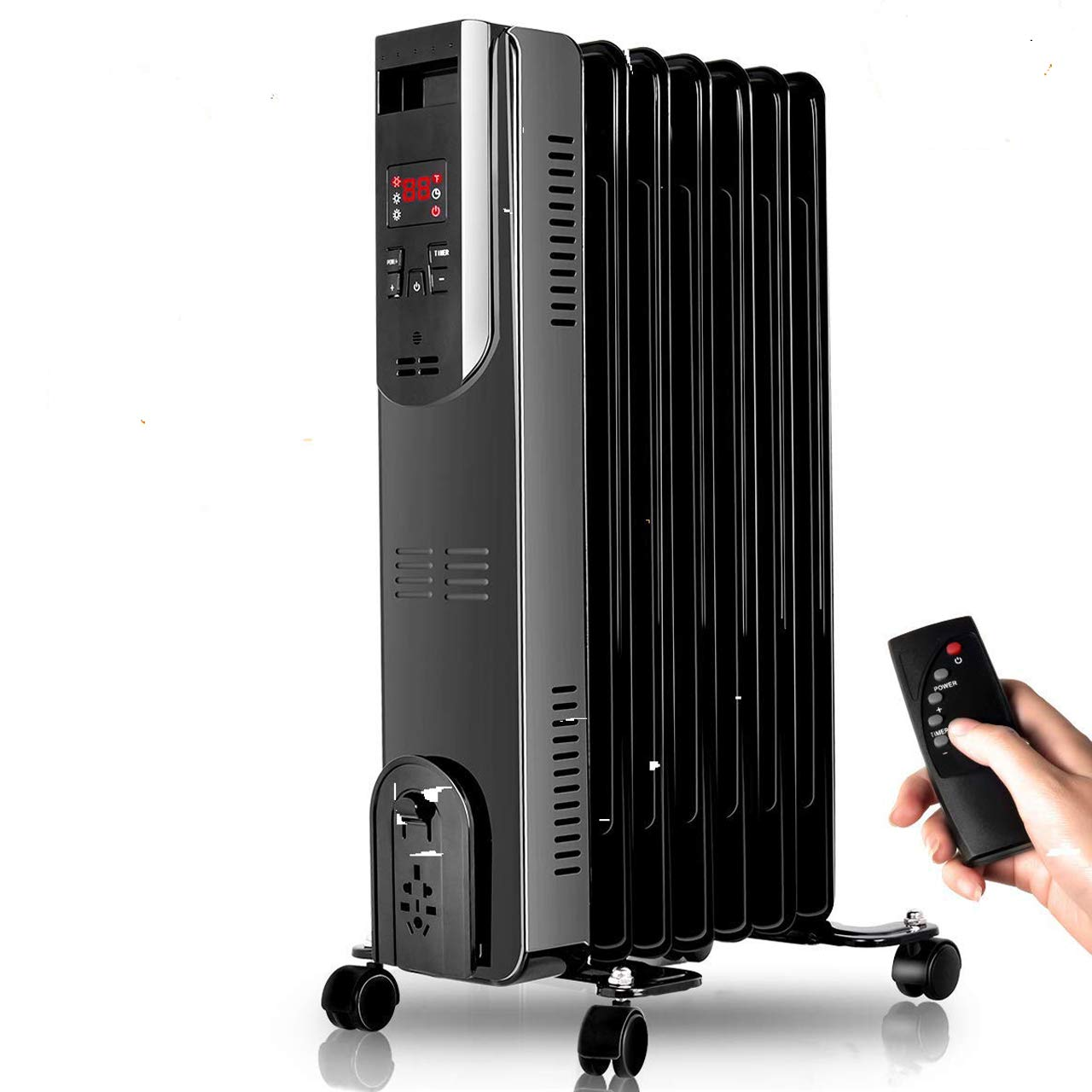 Radiator Heater – 1500W Oil Heater with Remote, 250 Sq Ft Coverage, Oil Filled Space Heater with Thermostat, LED Digital Display, Dual-Safety Protect, Electric Oil Filled Radiator Heater Room Office