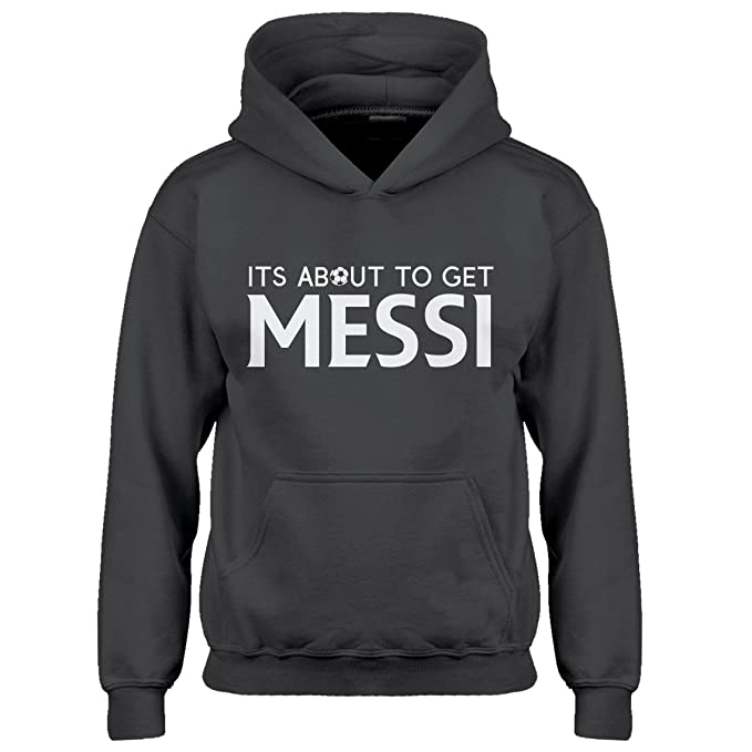 Indica Plateau Kids Hoodie Its About to Get Messi Youth L - (10-12) Charcoal Grey Hoodie