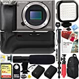 Sony Alpha a6000 24.3MP Grey Interchangeable Lens Camera Body (ILCE6000/H) - 64GB Battery Grip & Shotgun Mic Pro Video Bundle
