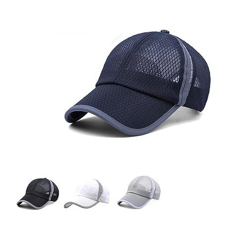 Gorra de béisbol de secado rápido de malla transpirable Pesca Running  Ciclismo Visera Sol Sombrero Para 5dffdfc0035e