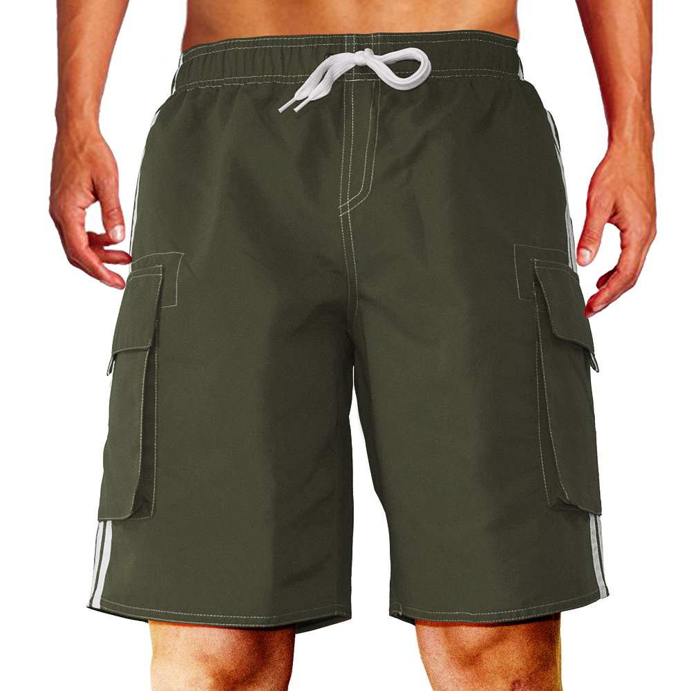 Men's Barracuda Quick Dry Swim Trunks Beach Shorts Board Shorts with Mesh Lining Support (Small, Green)