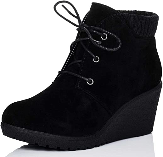 LACE UP WEDGE HEEL ANKLE BOOTS SHOES