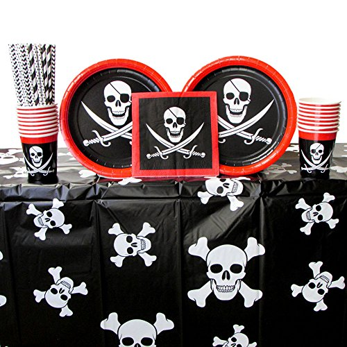 Cedar Crate Market Pirate Party Supplies Pack for 16 Guests: Straws, Dinner Plates, Luncheon Napkins, Cups, and Table Cover (Bundle for 16) -