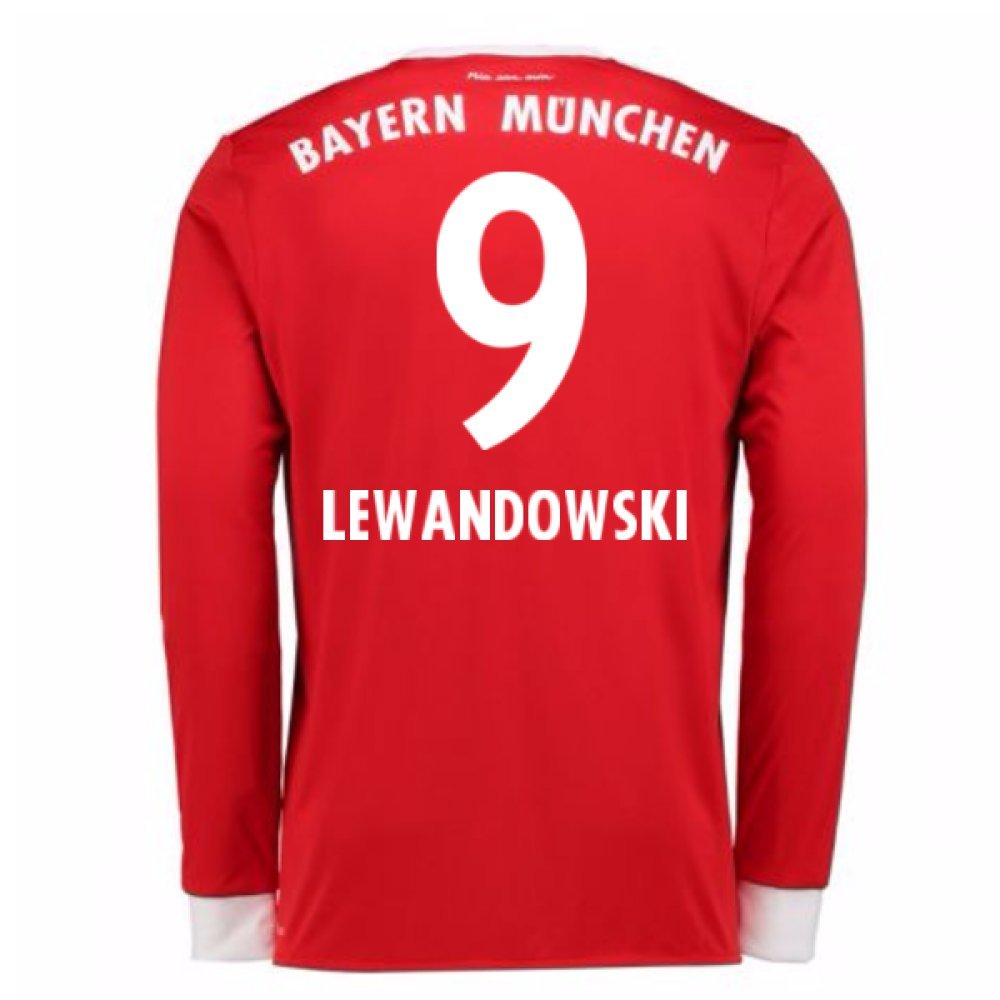2017-18 Bayern Munich Home Long Sleeve Shirt (Kids) (Lewandowski 9) B07848FSP7Red XL Boys 32-34\