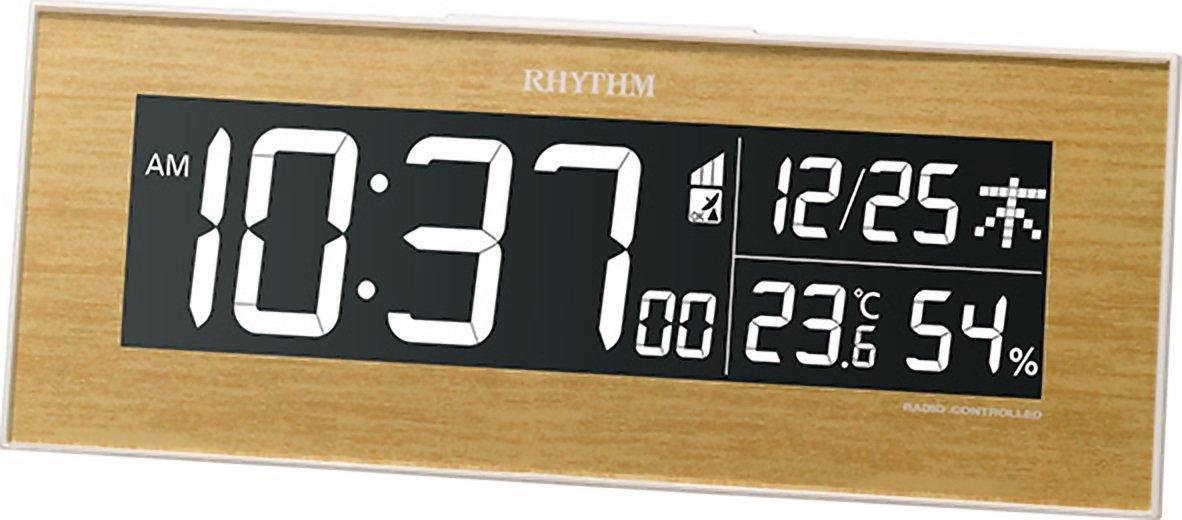 リズム時計 目覚まし時計 電波 デジタル Iroria イロリアW グラデーション LED 365色 表示 茶 (薄茶) RHYTHM 8RZ180SR07 B01ID21HR6薄茶色木目仕上