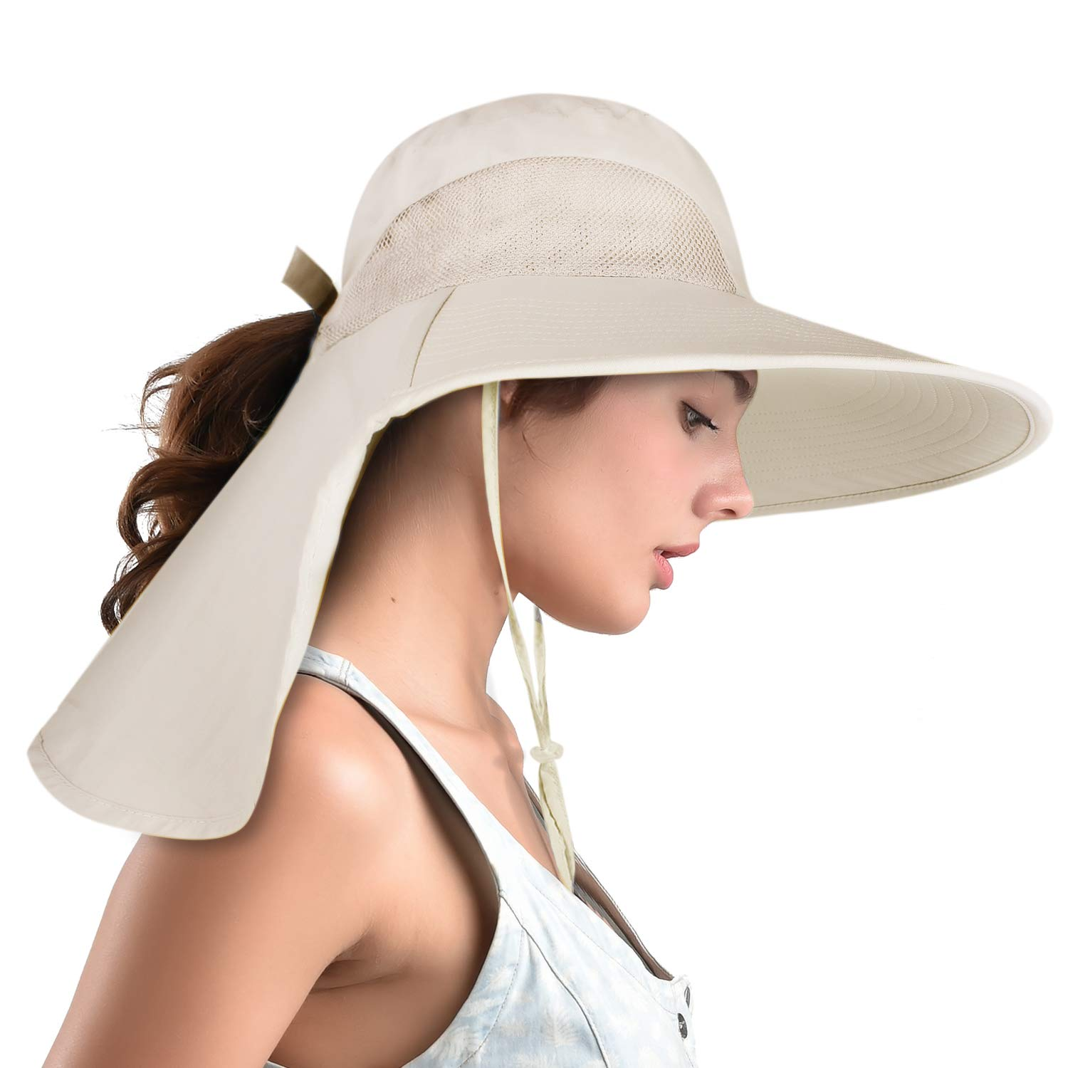 31ca95b55 camptrace Safari Sun Hats for Women Wide Brim Fishing Hat with Large Neck  Flap Ponytail Sun Protection UPF Summer Cooling Bucket hat Packable Sunhat  ...