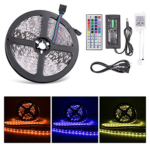 Ultra-bright LED Light Strip , Lahoku SMD 5050 5 Meter/16.4 Feet Non-waterproof 300 LED RGB Color Changing Lighting Kit with 44 Key IR Remote Control and DC 12V 6A Power Adapter