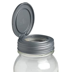 reCAP Mason Jars Lid FLIP Cap, Regular Mouth, Silver