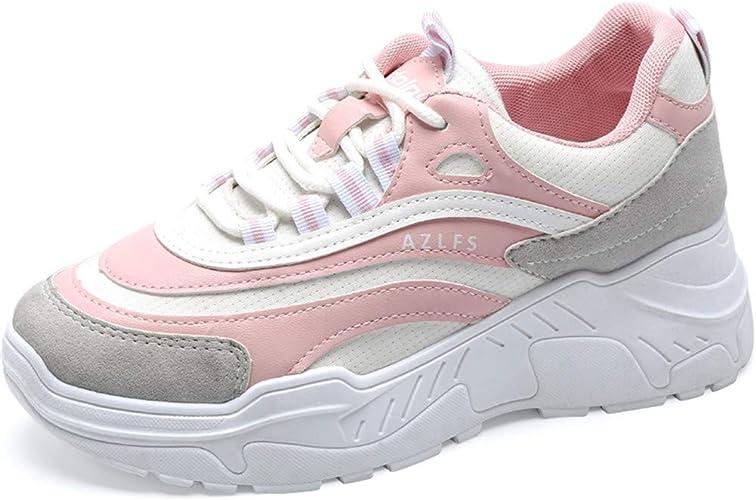 Lovelysi Mujers Chunky Zapatillas de Deportivo Sneakers Running Cordones Zapatos para Correr Malla Patchwork Calzado Atletismo,Fitness Casual Invierno Otoño(35EU-40EU): Amazon.es: Zapatos y complementos