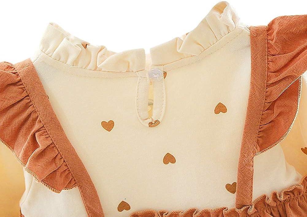 3M-3T Gyratedream Herbst Casual Baby M/ädchen Herz Print Langarm Patchwork Kleid Kinder Kleinkind Pageant Sommerkleid