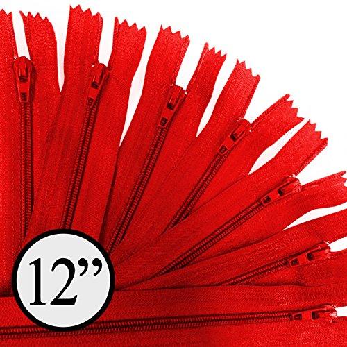 KGS 12 inch Nylon Zipper Zipper | 100 Zippers/Pack (Red) - Zipper Red