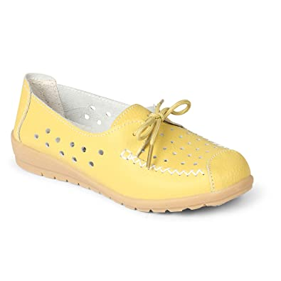 ca259ffbf Stitch Detail Lace-up Loafers with Perforations Yellow  Buy Online at Low  Prices in India - Amazon.in