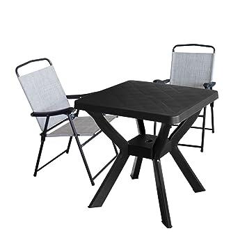 RENO Table de jardin 70 x 70 cm - plastique anthracite + 2 x Chaise ...