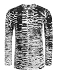 COOFANDY Men's Long Sleeve Hipster Hip Hop Basic T Shirt gradation Ripped-Holes Shirts,Black,X-Large