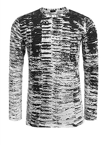 COOFANDY Mens Long Sleeve Hipster Hip Hop Basic T Shirt Gradation Ripped-Holes Shirts,Type-1 Black,Small