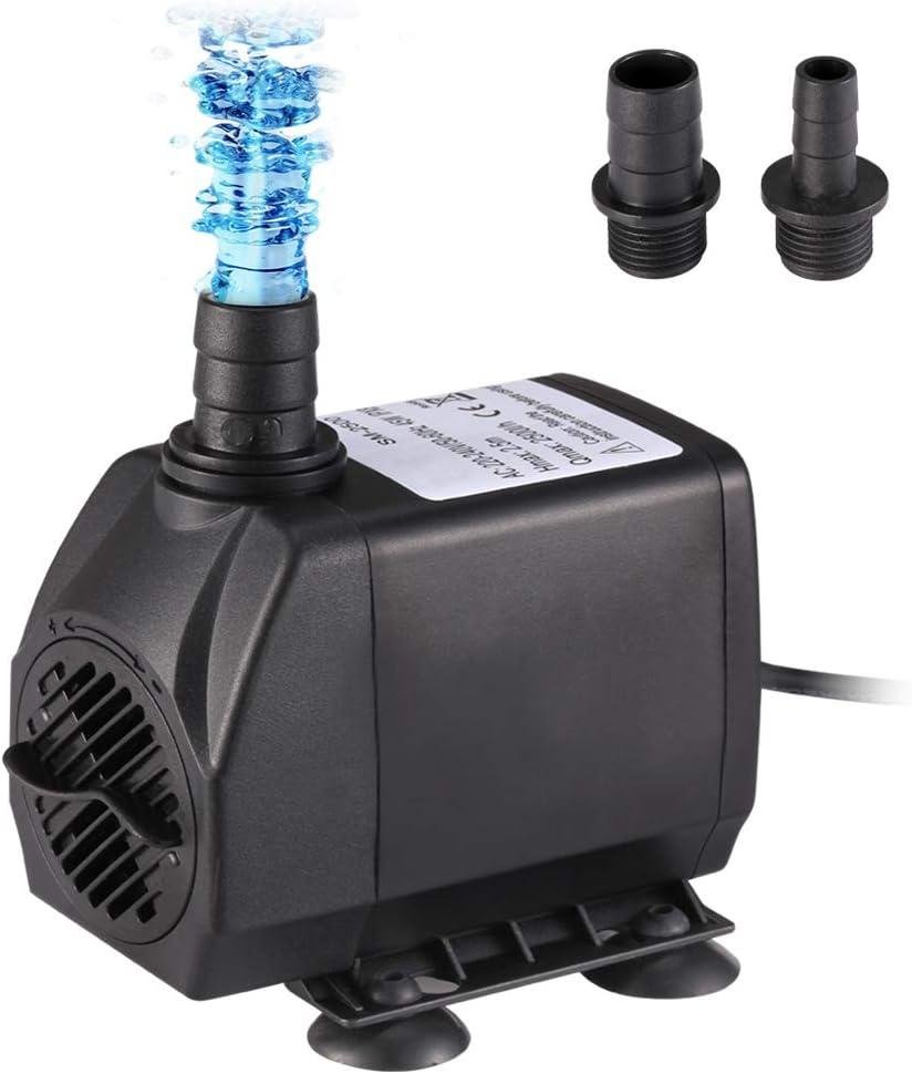 Homvik Bomba de Agua Sumergible 2500L/H 45W para Acuario Estanque Pecera Fuente Circulación de Agua Dulce y Marino con 2 Boquillas 2.5m de Altura