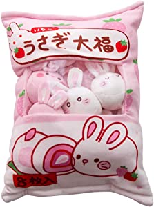 Pink Bunnies Daifuku Plush-Pillows Cute Rabbit Plush Pillow Stuffed Animal Toys Soft Throw Pillow Creative Gifts Room Decor for Girls (Bunnies Daifuku)