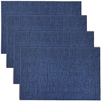 CAIT CHAPMAN HOME COLLECTION Texture Design Woven PVC Placemat (Navy), Set of 4